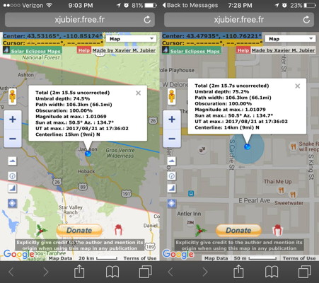 Solar Eclipse Geolocation Smartphone Tool