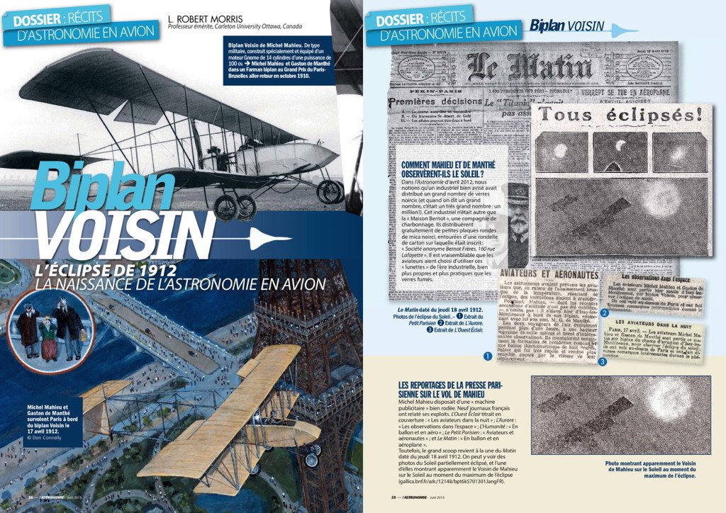 Astronomie Magazine June 2013 Voisin Aircraft Michel Mahieu Gaston de Manthé Hybrid Solar Eclipse 1912