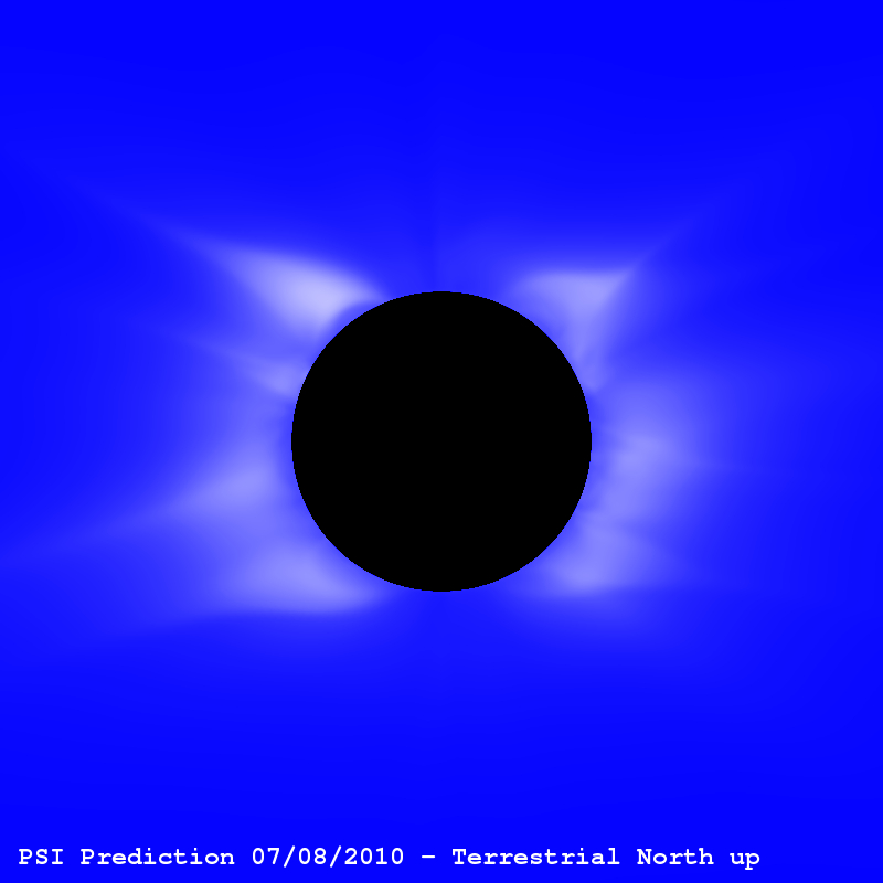 Structure Solar Corona Prediction Total Solar Eclipse 2010