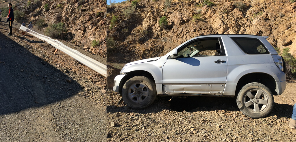 Local Car Went Off Tar Road Accident Guardrail