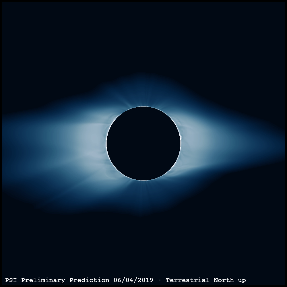 Predictive Science Preliminary Prediction Solar Corona Terrestrial North Up Total Solar Eclipse 2019