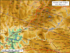Detailed Map Annular Eclipse Utah Arizona 2012
