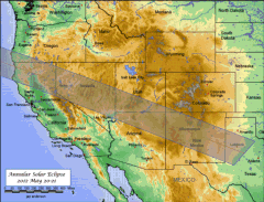 Map Annular Eclipse USA 2012