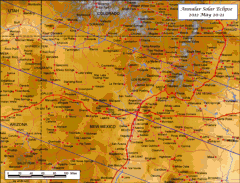 Detailed Map Annular Eclipse Utah Arizona New Mexico 2012