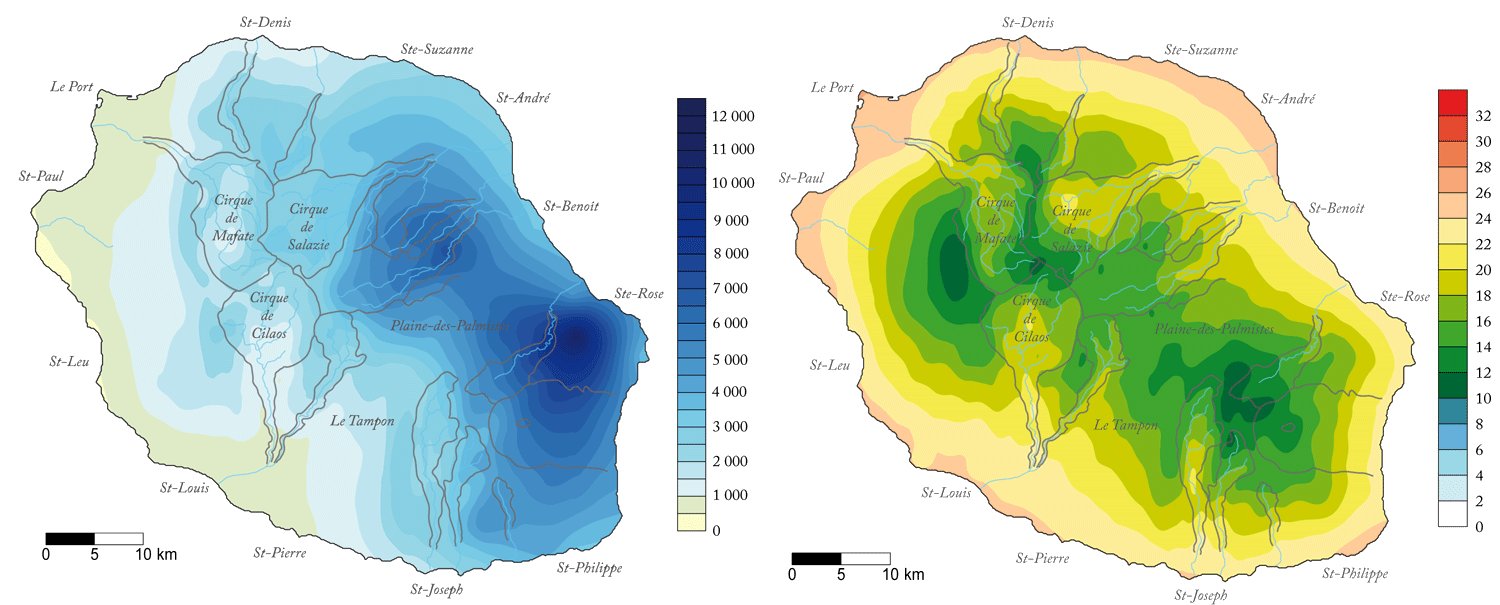 Annual Rainfall Temperature Map La Réunion