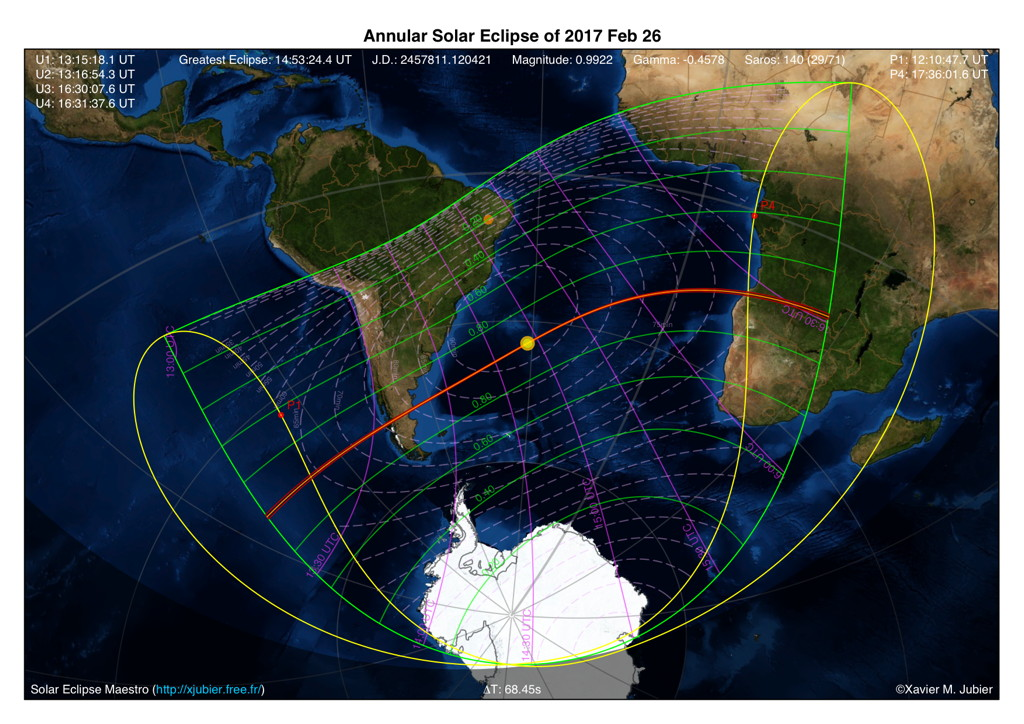 Annular Solar Eclipse 2017 Stereographic Projection Map