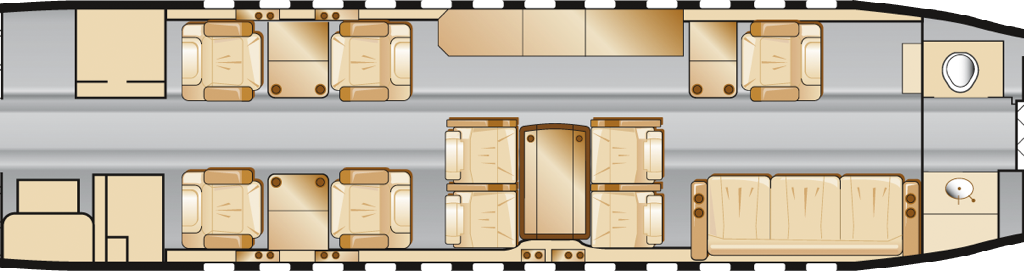 Cabin Layout Floorplan Dassault Falcon 900B VP-BMB Longtail Aviation