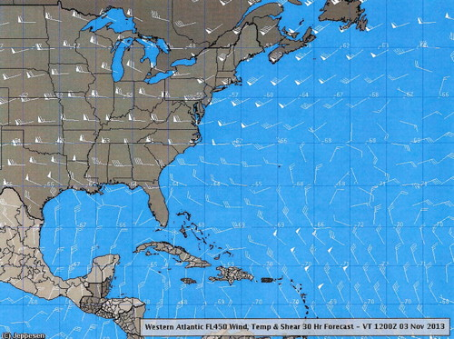 Wind Temperature Shear Western Atlantic 30 Hour Forecast 2013 November 3