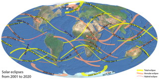 Solar Eclipses Map 2001-2020