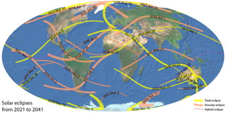 Solar Eclipses Map 2021-2040