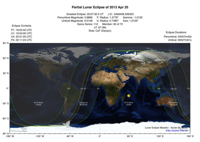Partial Lunar Eclipse Map 2013