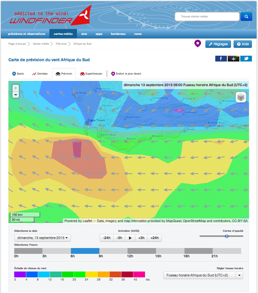 Carte Vent Wind Finder Agulhas Afrique Sud Eclipse Partielle Soleil Septembre 2015