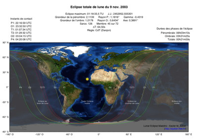 Carte Eclipse Lune 2003