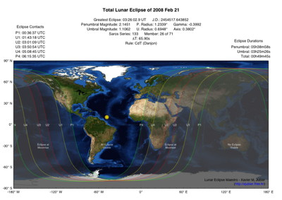 Lunar Eclipse Map 2008