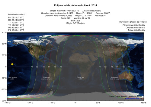 Carte Eclipse Lune Octobre 2014