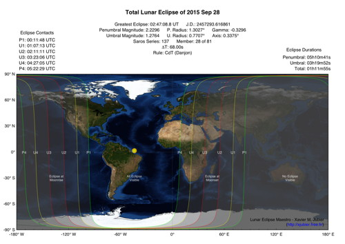 Lunar Eclipse Map 2015