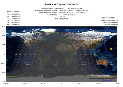 January 31 Lunar Eclipse Map.Australia Myanmar India Usa Total Lunar Eclipse Of 2018 January
