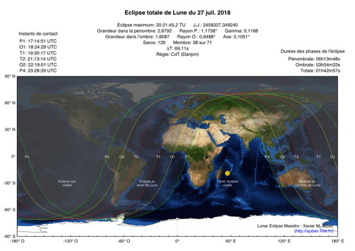 Carte Eclipse Lune 2018