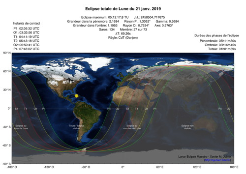 Carte Eclipse Lune 2019