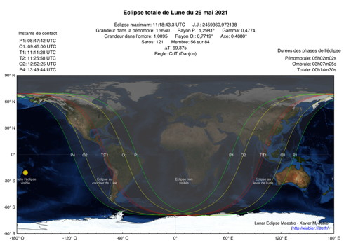 Carte Eclipse Lune 2021
