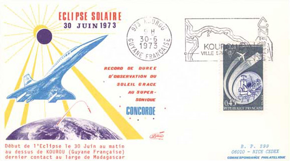 Postcard Concorde 001 Flight Total Solar Eclipse 30 June 1973
