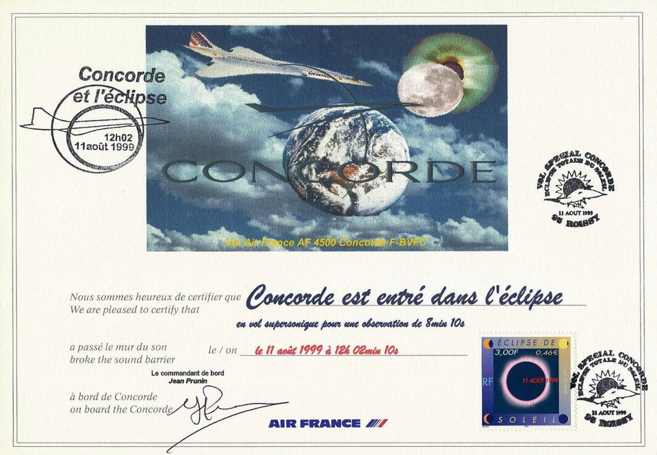 Certificate Concorde Total Solar Eclipse August 1999
