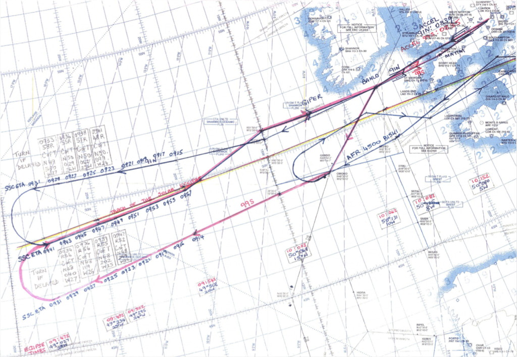 Flight Route British Concorde Lucy Pesaro Total Solar Eclipse August 1999