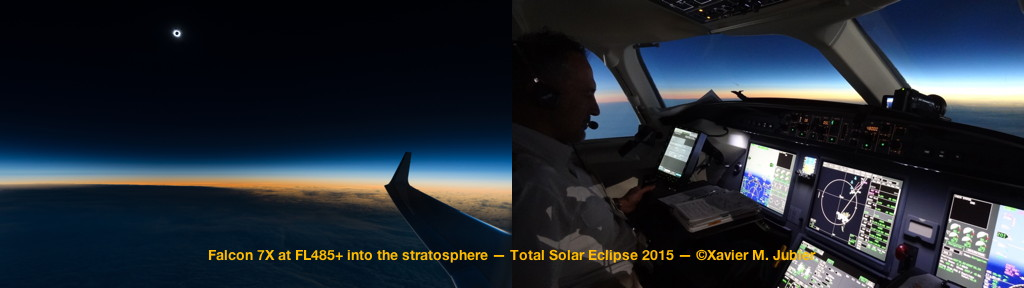 Total Solar Eclipse 2015 Stratospheric Flight Totality Dassault Falcon 7X Cockpit Moon Umbra Wing View