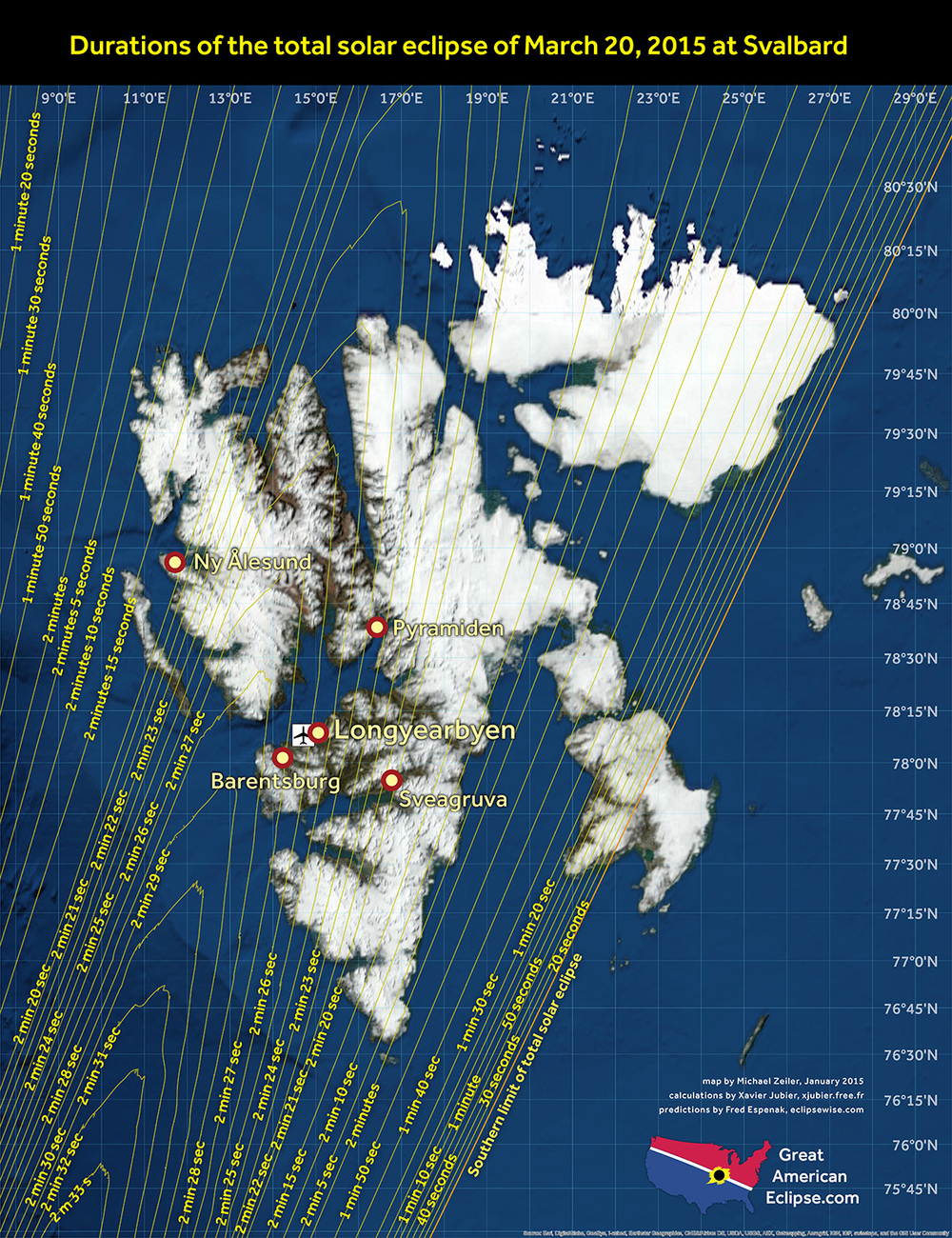 Total Eclipse 2015 Map Totality Duration Svalbard Spitsbergen