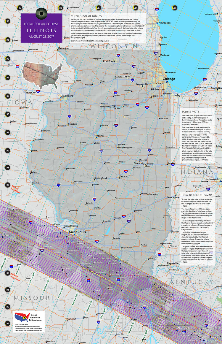 Viewing Site Total Solar Eclipse 2017 Illinois Map United States America