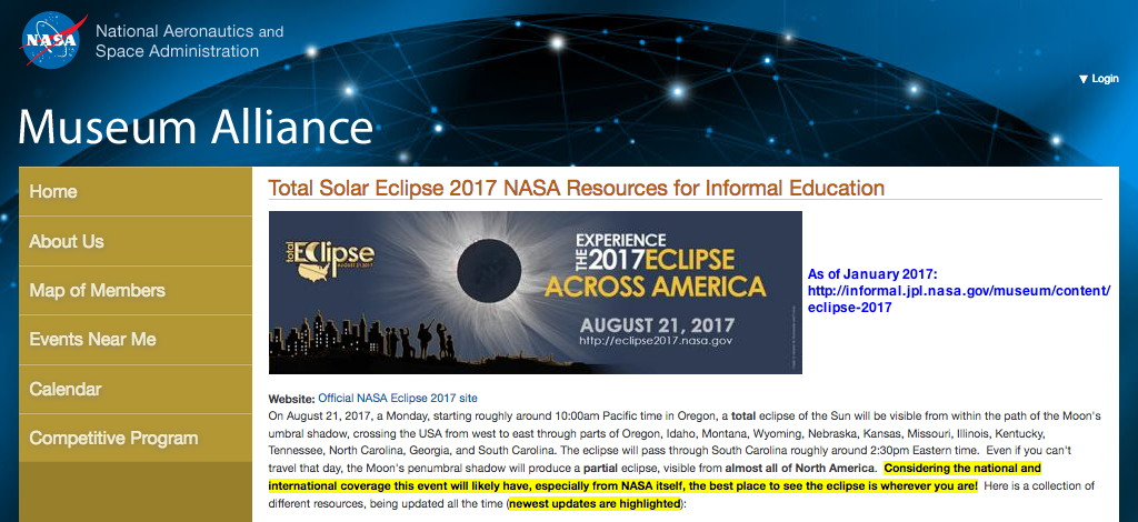 Total Solar Eclipse 2017 NASA Resource Informal Education Museum Alliance