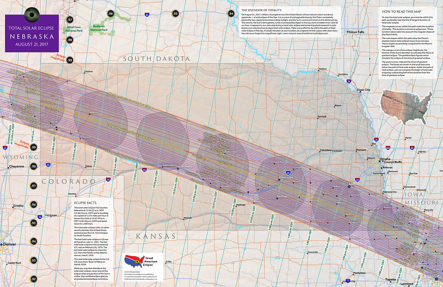Viewing Site Total Solar Eclipse 2017 Nebraska Map United States America