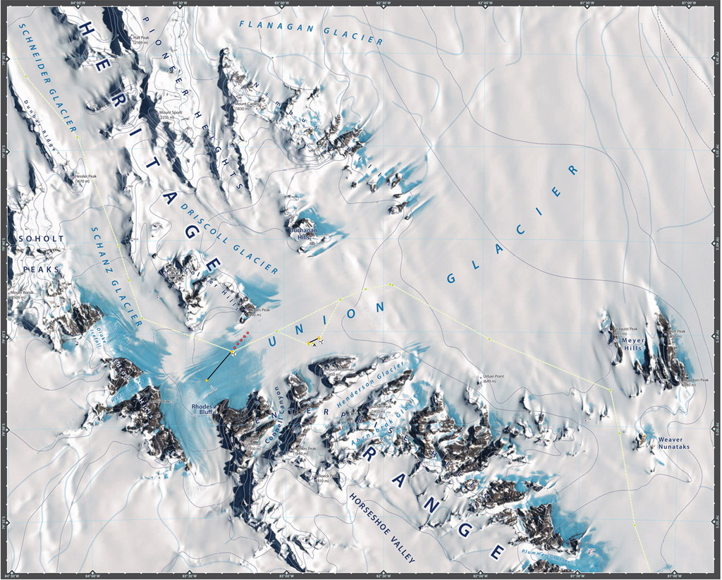 Carte Union Glacier Antarctique