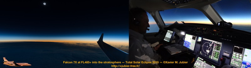 Total Solar Eclipse 2015 Falcon 7X Flight Stratosphere