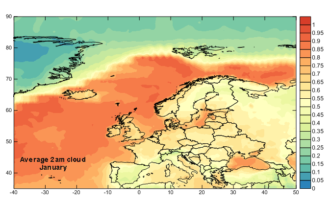 Europe 2am January Cloud Cover