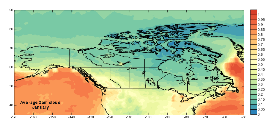 North America 2am January Cloud Cover