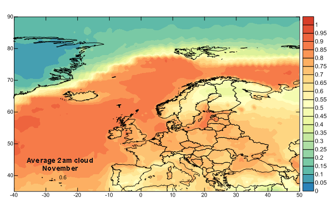 Europe 2am November Cloud Cover