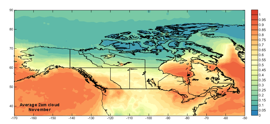 North America 2am November Cloud Cover