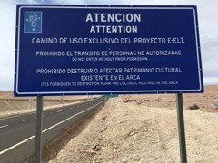 Warning Sign Private Road Cerro Armazones