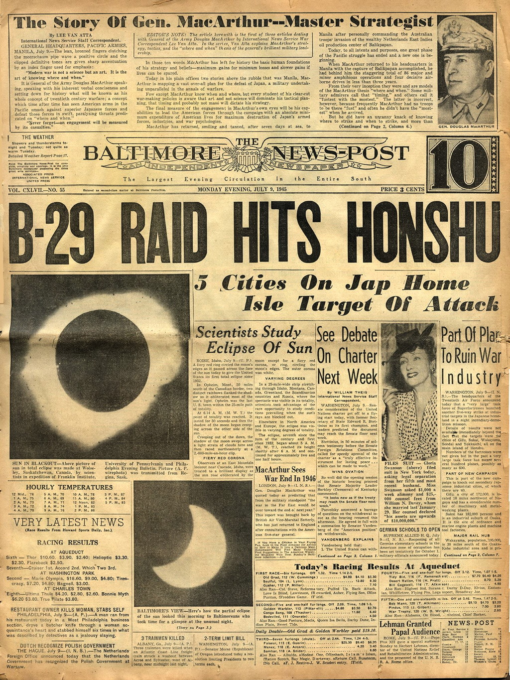 Eclipse Totale Soleil 1945 Baltimore News Post